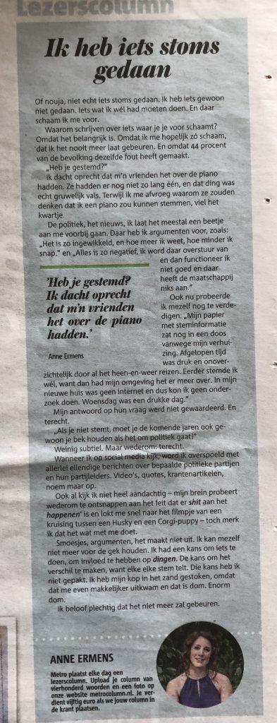 Anne Ermens, In de krant, Metro, Winaar Lezerscolumn